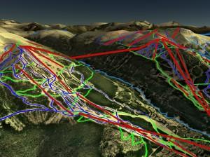 Zobrazení lyžařského střediska v prostředí Google Earth