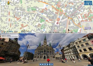 Liberecká radnice na 3D panoramatickém snímku.