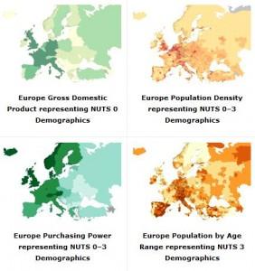 Demografická data evropských států 2011, zdroj: http://resources.arcgis.com