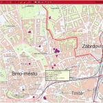 Sledování vozidel MP Brno - mapa 2, zdroj: T-MAPY
