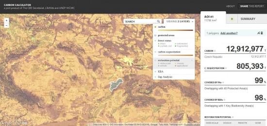 Uhlík v Beskydech, zdroj:Carbon calculator