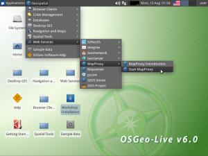 OSGeo-Live 6.0 menu, zdroj: http://live.osgeo.org