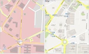 Rozdíl v pokrytí OpenStreetMap a Google Maps v centru Dillí po akci Mapathon