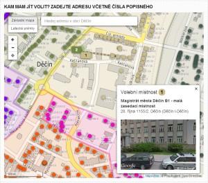 Aplikace Kam jít volit v plném režimu - tedy při spolupráci s městem.
