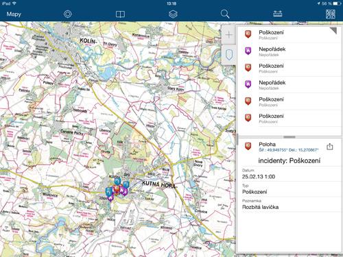Prostředí aplikace Collector for ArcGIS na iPadu.