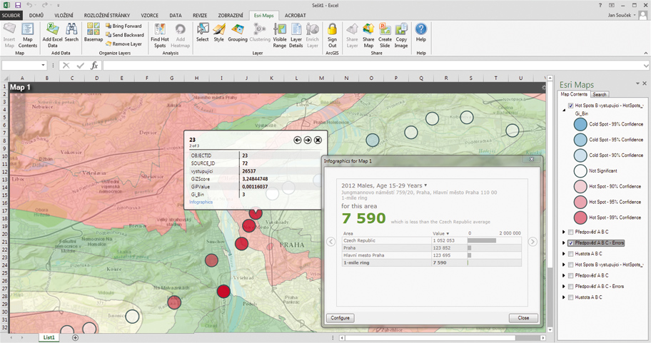 Esri Maps for Office – GIS v Excelu.
