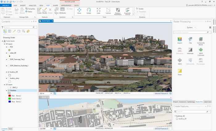 ArcGIS Pro umožňuje současné zobrazení 2D i 3D pohledu na data v synchronizovaných oknech.