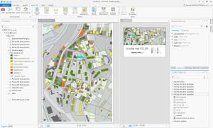 Prostředí ArcGIS Pro se dvěma mapovými kompozicemi.