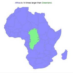 Afrika je 14krát větší než Grónsko.