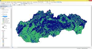 Tvorba mapy koeficientu odtoku s kategóriami veľmi nízky odtok, nízky odtok, priemerný odtok, vysoký odtok a veľmi vysoký odtok.